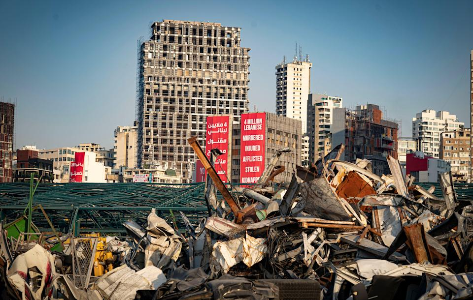 Posters reflecting the anger of Lebanon's residents close to the wrecked Beirut port (Bel Trew)