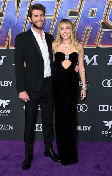 PHOTO: Liam Hemsworth and Miley Cyrus arrive for the World premiere of Marvel Studios' 'Avengers: Endgame' at the Los Angeles Convention Center on April 22, 2019 in Los Angeles. (Valerie Macon/AFP/Getty Images)