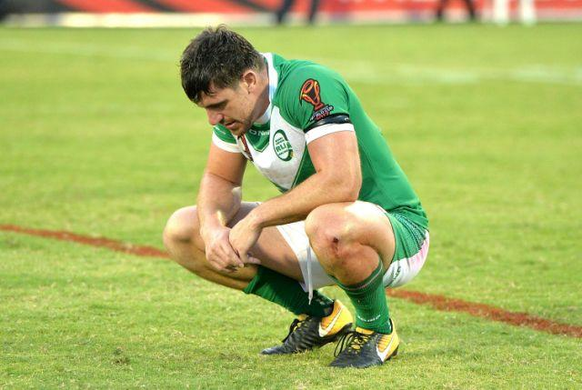 Ireland forward Tyrone McCarthy looking dejected after his side's loss to PNG. Pic: Getty