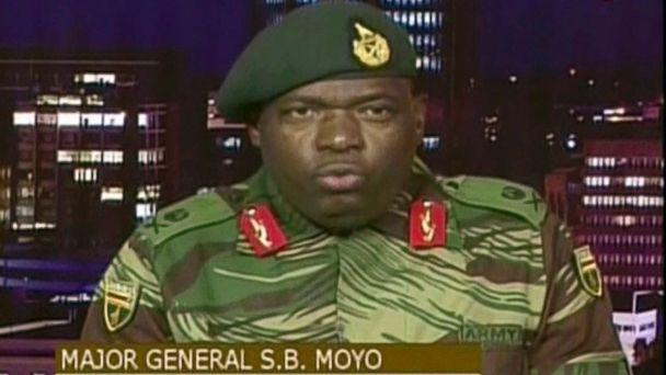 PHOTO: Major Gen. S.B. Moyo, Spokesperson for the Zimbabwe Defense Forces addresses to the nation in Harare, Zimbabwe, Nov. 15, 2017. (AP)