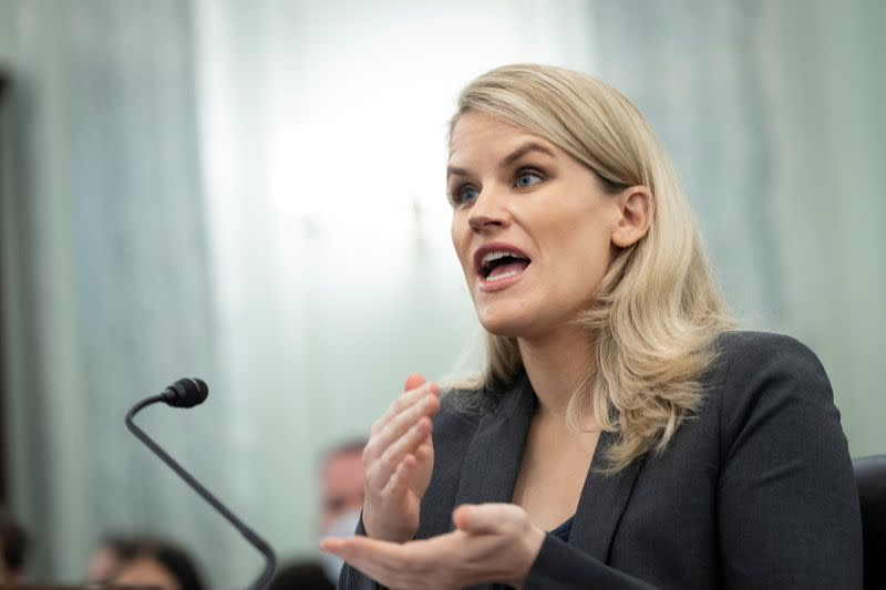 Former Facebook employee and whistleblower Frances Haugen testifies during a hearing entitled 'Protecting Kids Online: Testimony from a Facebook Whistleblower' in Washington
