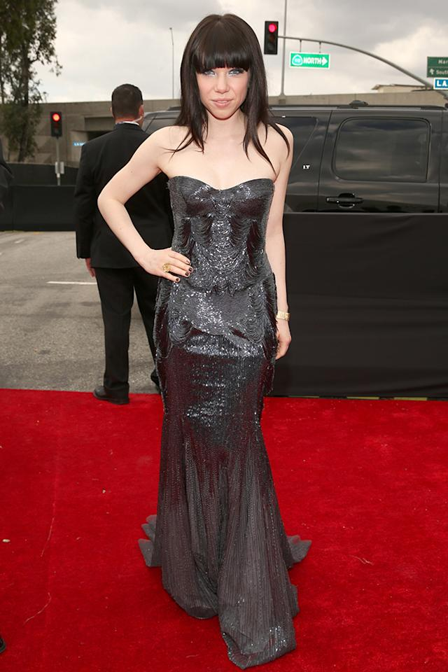 Carly Rae Jepsen arrives at the 55th Annual Grammy Awards at the Staples Center in Los Angeles, CA on February 10, 2013.