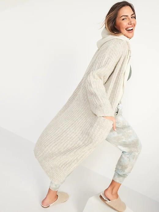 <p>Name a more perfect outer layer when you don't want a coat. Need help? This <span>Old Navy Slouchy Rib-Knit Long-Line Open-Front Sweater</span> ($55) is a winning answer. </p>