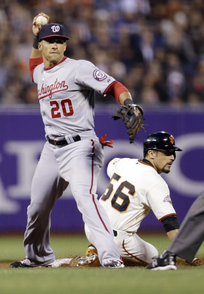 Washington Nationals shortstop Ian Desmond (20) forces out San Francisco Giants' Andres Torres (56) at second base after a ground ball from Brandon Crawford during the fourth inning of a baseball game on Monday, May 20, 2013 in San Francisco. (AP Photo/Marcio Jose Sanchez)