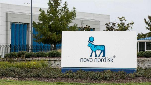 PHOTO: In this Sept. 14, 2019, file photo, a sign is shown outside of a Novo Nordisk facility in Clayton, N.C. (Kris Tripplaar/Sipa USA via Newscom, FILE)