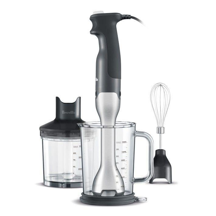 """<p><strong>Breville</strong></p><p>williams-sonoma.com</p><p><strong>$99.95</strong></p><p><a href=""""https://go.redirectingat.com?id=74968X1596630&url=https%3A%2F%2Fwww.williams-sonoma.com%2Fproducts%2Fbreville-control-grip-immersion-blender&sref=https%3A%2F%2Fwww.goodhousekeeping.com%2Fappliances%2Fblender-reviews%2Fg2067%2Fbest-immersion-blender%2F"""" rel=""""nofollow noopener"""" target=""""_blank"""" data-ylk=""""slk:Shop Now"""" class=""""link rapid-noclick-resp"""">Shop Now</a></p><p>This immersion blender has a lot of great features that make it our top pick. Unlike other models that create a vortex that pulls food into the blades and suction themselves to the bottom of the container, the Breville's blade guard is uniquely shaped to prevent this. It requires more up-and-down motion to blend uniformly, but we still found it easy to operate. The rubber handle is soft, narrow, and comfortable to grip and the """"on"""" button is easy to hold down. </p><p>The blender attachment clips on and off with ease and it never feels loose when clipped on. It features 15 speed settings for different foods and it came with the largest lidded mixing jar we tested (42 ounces!). Its lid doubles as an anti-slip mat to place under the jar. This model also includes a food processor and whisk attachment and all attachments are dishwasher safe. </p>"""