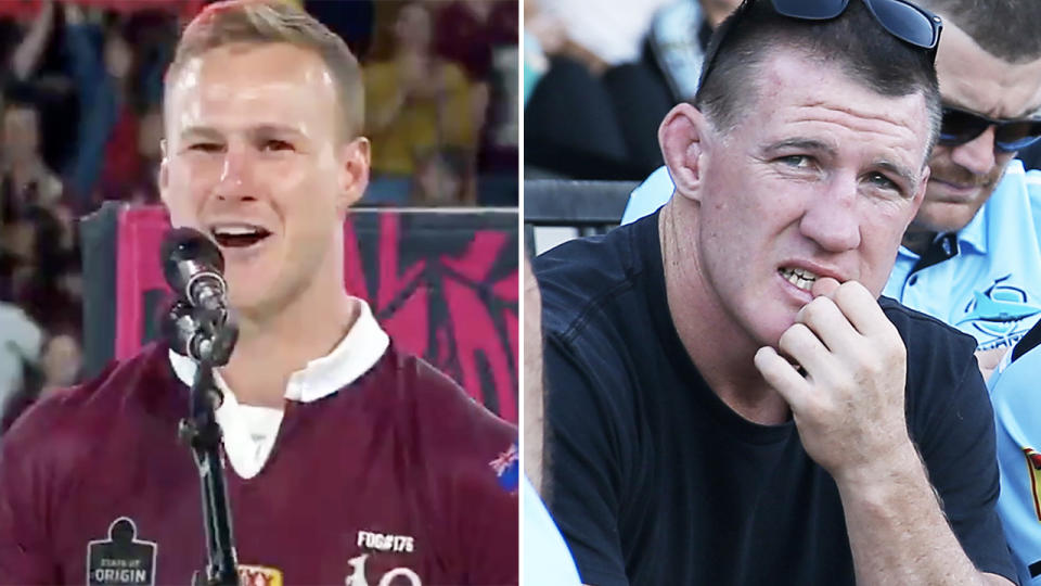 Daly Cherry-Evans, pictured here in his victory speech at State of Origin.