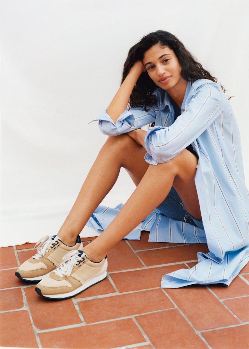 <p>A retro sport sneaker with stripes, reminiscent of a '70s running shoe, makes a comeback this year, and looks perfect with a pair of cutoffs and a casual button-down. While you could go for natural tones, there are plenty of quirky colorblock styles that have a modern feel to them.</p> <p><span>Mango Platform Lace-Up Sneakers</span> ($80)</p>