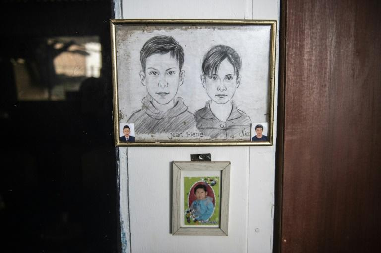 Nancy Sanchez's son and daughter, Jean Pierre and Nicole, are pictured in a drawing at her home