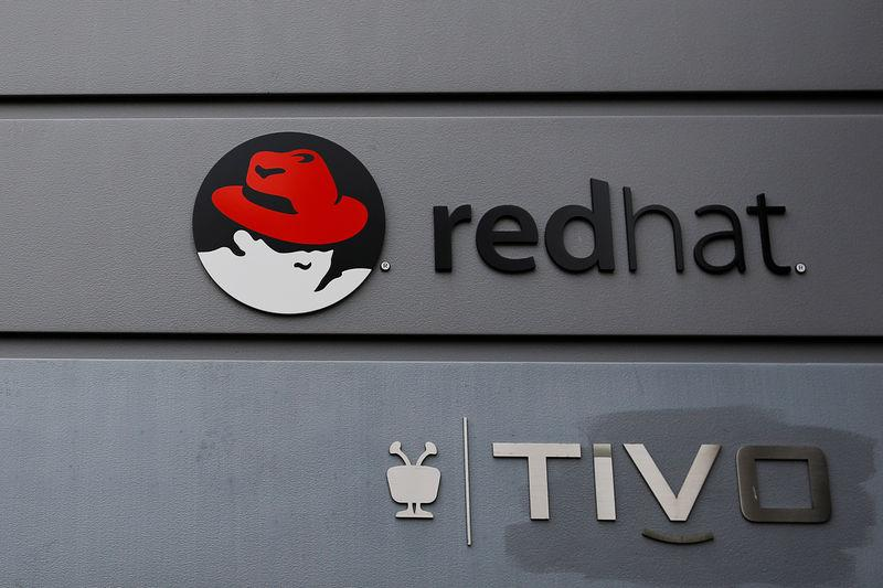 A sign for Red Hat and Tivo hang on a building in Boston