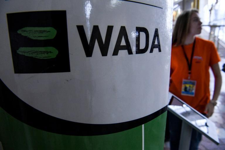 The WADA logo is pictured at the Russkaya Zima (Russian Winter) Athletics competition in Moscow on February 9, 2020.