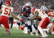 New England Patriots running back Sony Michel (26) scores a touchdown against the Kansas City Chiefs during the first half of an NFL football game, Sunday, Oct. 14, 2018, in Foxborough, Mass. (AP Photo/Michael Dwyer)