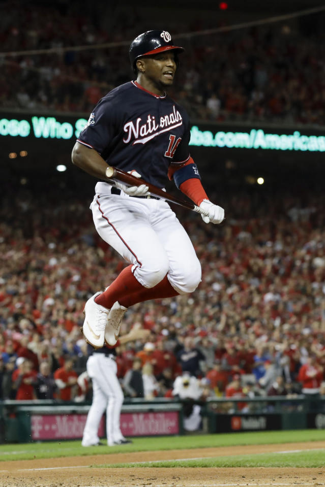Washington Nationals' Victor Robles reacts after striking out during the sixth inning of Game 5 of the baseball World Series against the Houston Astros Sunday, Oct. 27, 2019, in Washington. (AP Photo/Jeff Roberson)