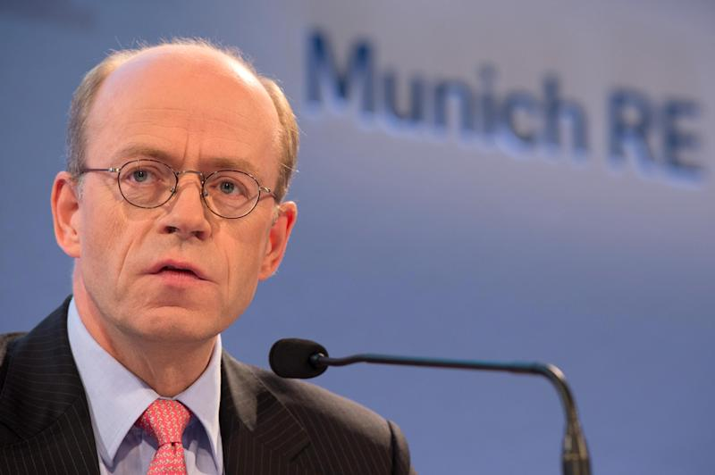 CEO of Munich Re, Nikolaus von Bomhard, attends a press conference in Munich, southern Germany Tuesday Aug. 7, 2012. Reinsurer Munich Re saw its second quarter profit improve 10 percent from a year ago thanks to a better investment result and fewer expenses for natural disasters. The company said Tuesday that net profit during the period rose to euro812 million (US$1.0 billion) from euro738 million in the second quarter last year. Gross premiums rose 5.5 percent to euro12.63 billion.  (AP Photo/dapd/Sebastian Widmann)