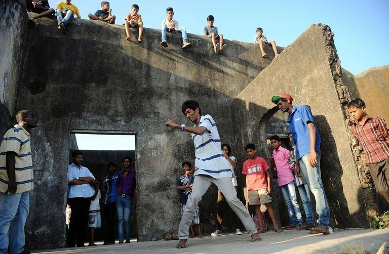 SlumGods members take part in a dance practice at the Sion fort in Mumbai on November 30, 2012