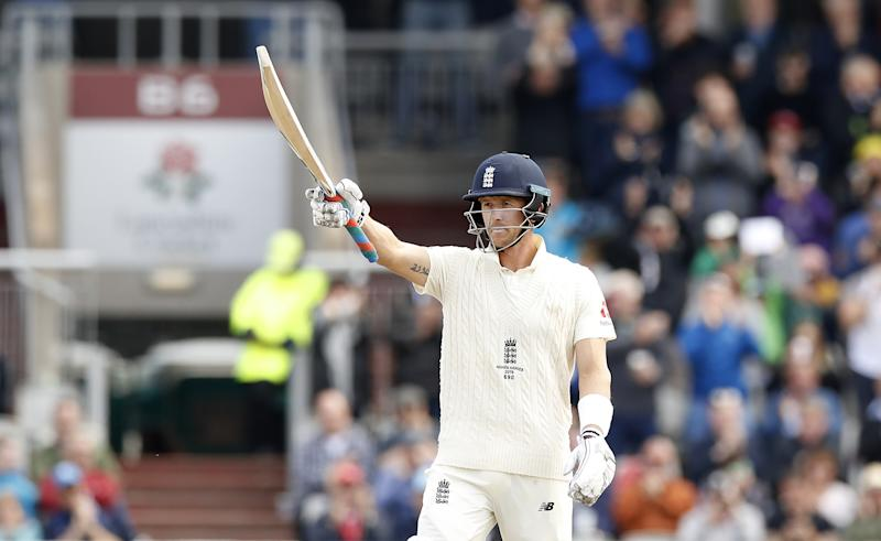 England's Joe Denly celebrates reaching his half century during day five of the fourth Ashes Test at Emirates Old Trafford, Manchester. (Photo by Martin Rickett/PA Images via Getty Images)