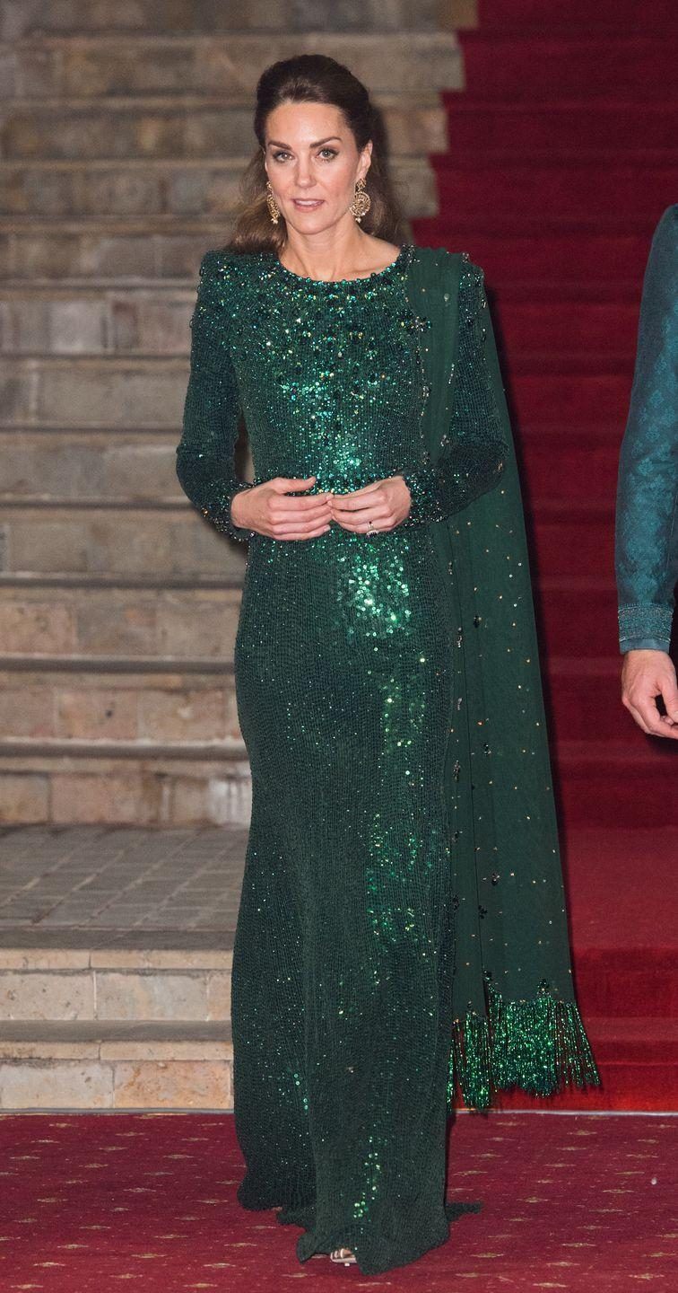 <p>One of Kate's stand-out style moments on the royal tour was this sparkly green dress, which she wore to a reception at the Pakistan monument. </p>