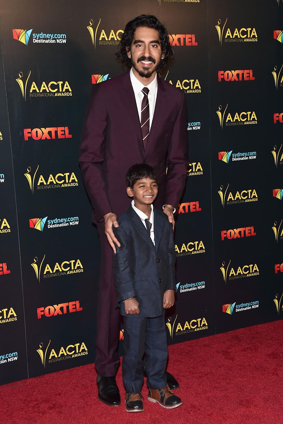Patel and Sunny Pawar at the 6th AACTA International Awards at Avalon Hollywood on Jan. 6, 2017, in Los Angeles.