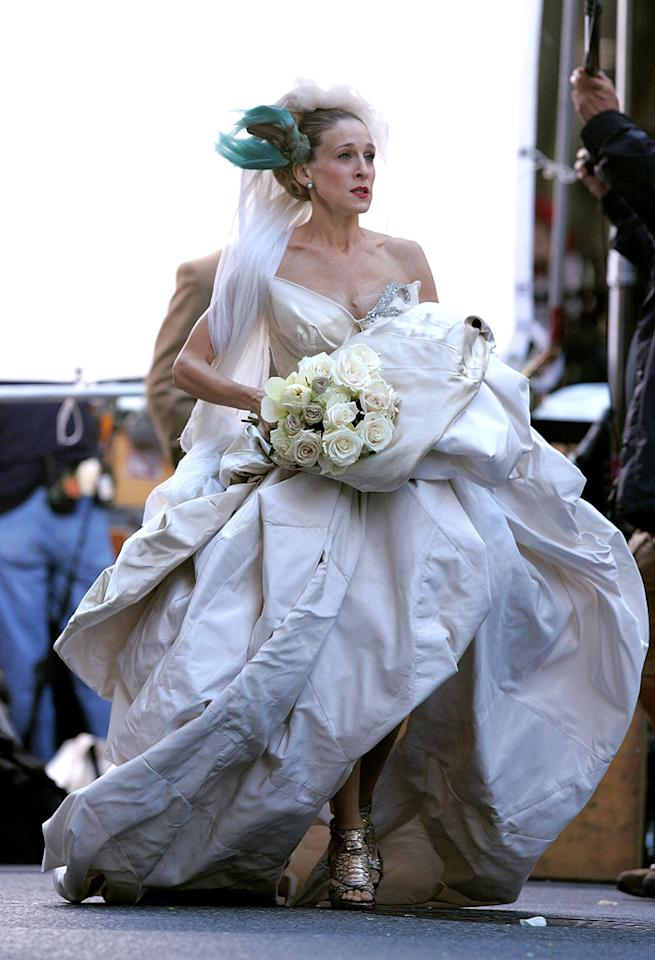 2. Her wedding to Big at the New York Public Library may have been a bust, but Carrie's one-of-a-kind Vivienne Westwood gown, complete with teal headdress, was beyond beautiful.