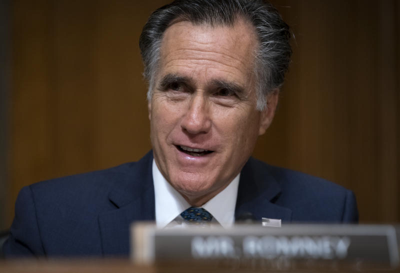 Sen. Mitt Romney, R-Utah, a member of the Senate Foreign Relations Committee, questions Deputy Secretary of State John Sullivan, President Donald Trump's nominee to become the new U.S. ambassador to Russia, on Capitol Hill in Washington, Wednesday, Oct. 30, 2019. (AP Photo/J. Scott Applewhite)