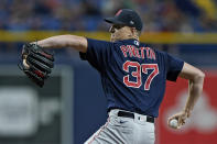 Boston Red Sox's Nick Pivetta goes into his windup against the Tampa Bay Rays during the first inning of a baseball game Thursday, June 24, 2021, in St. Petersburg, Fla. (AP Photo/Chris O'Meara)