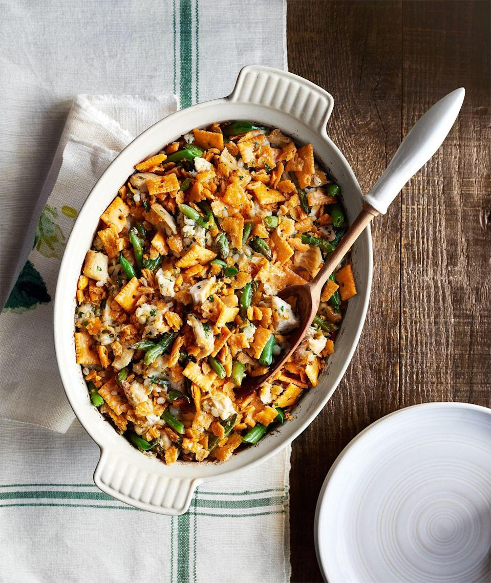 """<p>Go all out with childhood nostalgia by topping your casserole with cheese crackers.</p><p>Get the recipe from <a href=""""https://www.delish.com/cooking/recipe-ideas/recipes/a44272/green-bean-barley-chicken-casserole/"""" rel=""""nofollow noopener"""" target=""""_blank"""" data-ylk=""""slk:Delish"""" class=""""link rapid-noclick-resp"""">Delish</a>.</p>"""