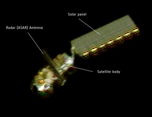 On 15 April, the French space agency CNES rotated the Pleiades Earth observation satellite to capture this image of Envisat. At a distance of about 100 km, Envisat's main body, solar panel and radar antenna were visible.