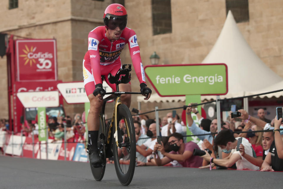 Team Jumbo-Visma rider Primoz Roglic rides during a time trial on the 21st and last stage of the Vuelta Cycling race in Santiago, Spain, Sunday, Sept. 5, 2021. (AP Photo/Luis Vieira)