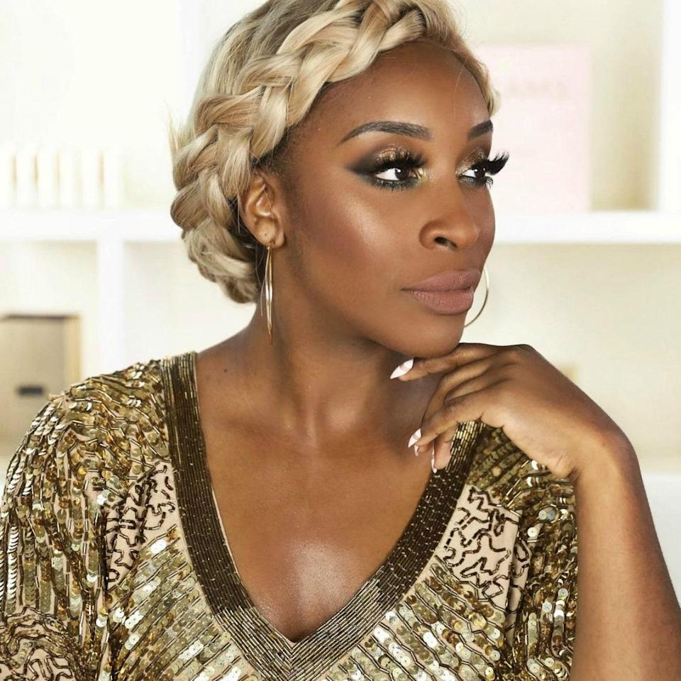 We'll stan for any hairstyle Jackie Aina tries, but this faux crown braid is a winner. The blonde extensions instantly warm up the look, which can be worn casually or dressed up for those special (socially distanced) occasions. Pop in some thin hoops, and you'll be ready to serve wherever needed.