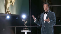 """In this video grab issued Sunday, Sept. 19, 2021, by the Television Academy, Jason Sudeikis accepts the award for outstanding lead actor in a comedy series for """"Ted Lasso"""" during the Primetime Emmy Awards. (Television Academy via AP)"""