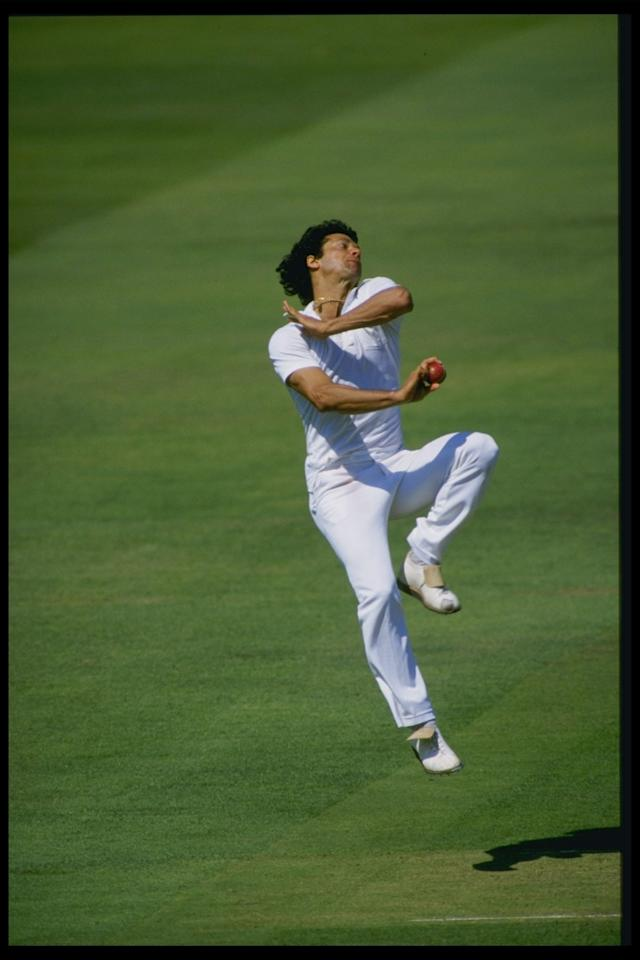 Aug 1987: Imran Khan of Pakistan bowls for the Rest Of The World X1 against the MCC at Lords during the Bicentenary Match.                Mandatory Credit: Adrian Murrell/Allsport UK