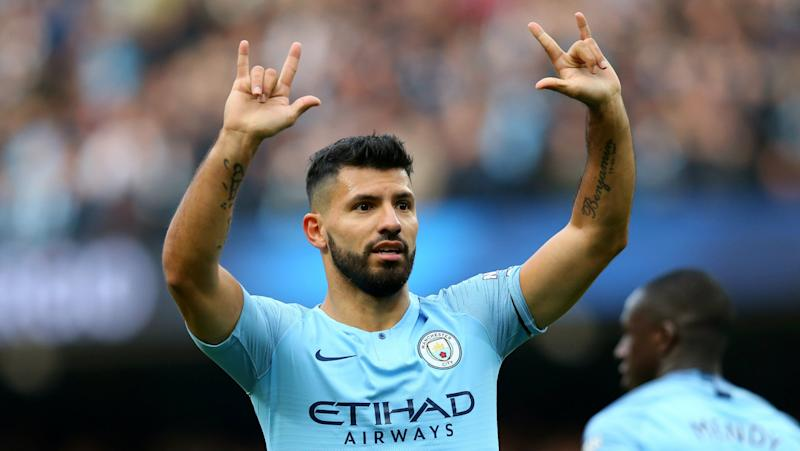 Sergio AGUERO scores 150th Premier League goal for Manchester City
