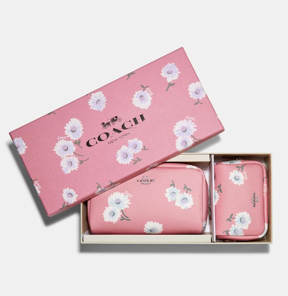 Boxed Small And Mini Boxy Cosmetic Case Set With Daisy Print. Image via Coach Outlet.