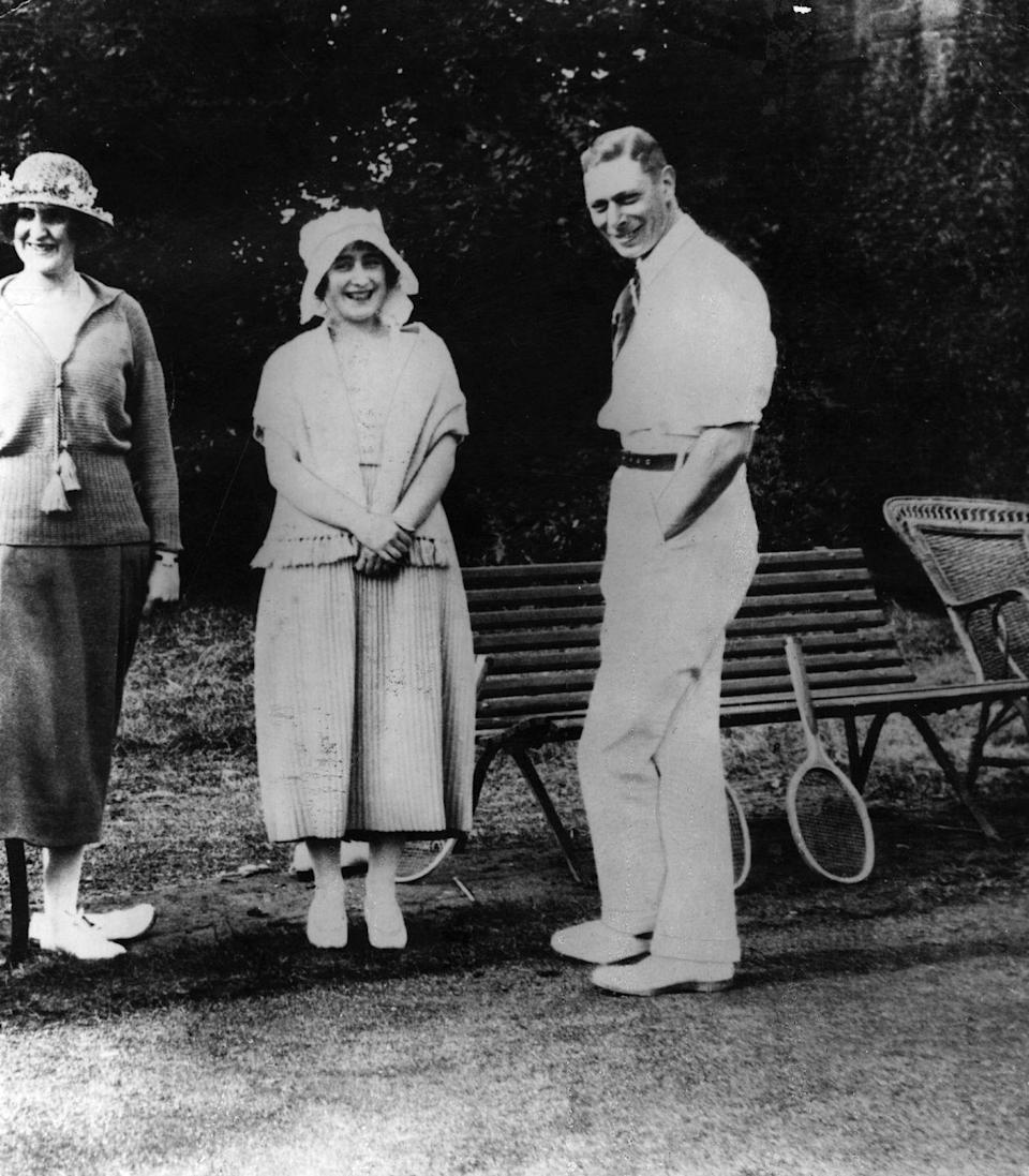 <p>Long before he became King George VI, Queen Elizabeth's father, enjoyed a good tennis match. Here, the then-Duke of York and Elizabeth Bowes-Lyon (the future Queen Mother) attended a tennis party after the announcement of their engagement. <br></p>