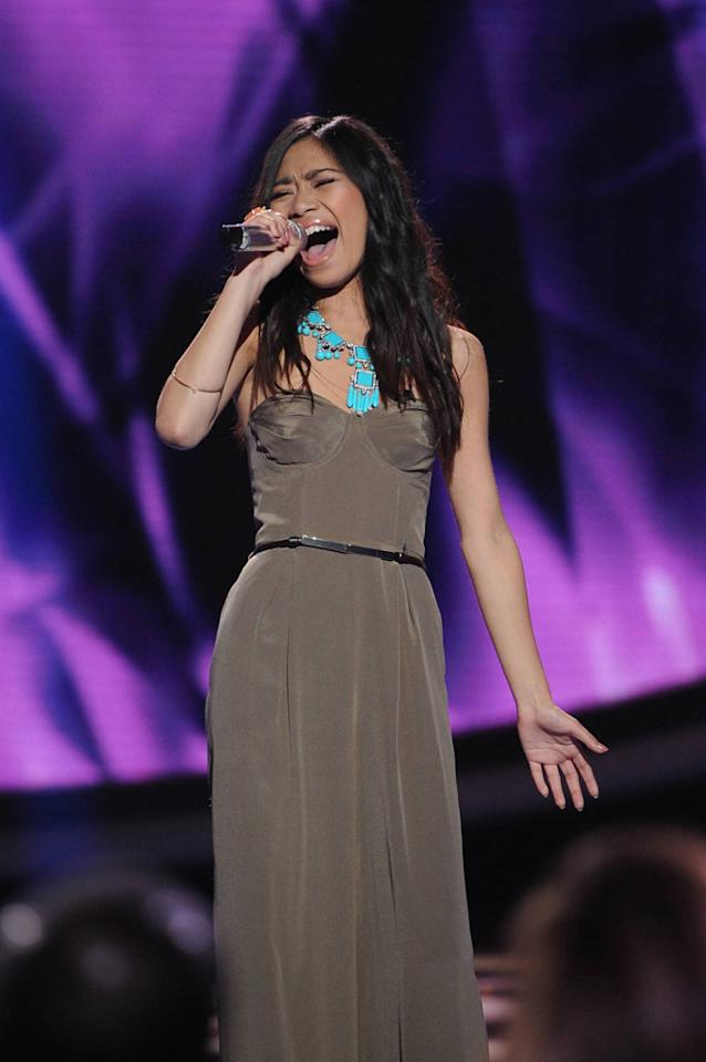 "Jessica Sanchez performs ""I Don't Want to Miss a Thing"" by Aerosmith on ""<a target=""_blank"" href=""http://tv.yahoo.com/american-idol/show/34934"">American Idol</a>."""