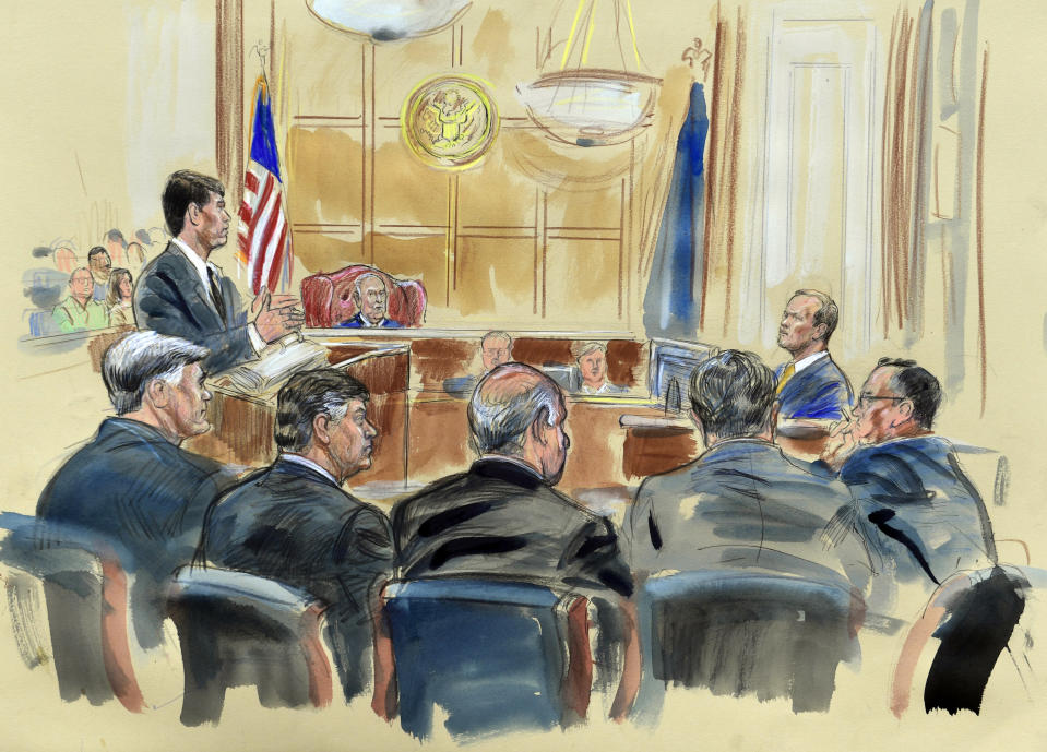 <p>This courtroom sketch depicts Rick Gates, right, answering questions by prosecutor Greg Andres as he testifies in the trial of Paul Manafort, seated second from left, at the Alexandria Federal Courthouse in Alexandria, Va., Monday, Aug. 6, 2018. U.S. district Judge T.S. Ellis III presides as Manafort attorney's including Kevin Downing, left, Thomas Zehnle, third from left, listen. (Photo: Dana Verkouteren via AP) </p>