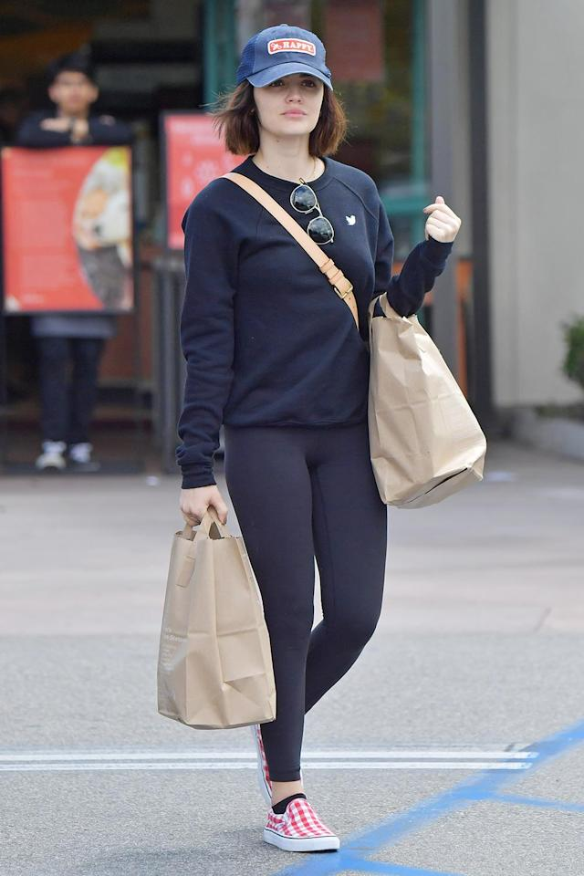 <p>Lucy Hale stocks up on groceries on Wednesday in L.A.</p>