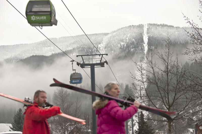 Skiers walk away from Silver Mountain after an avalanche after an avalanche killed multiple people and injured others on Tuesday, Jan. 7, 2020, in Kellogg, Idaho. (Kathy Plonka/The Spokesman-Review via AP)