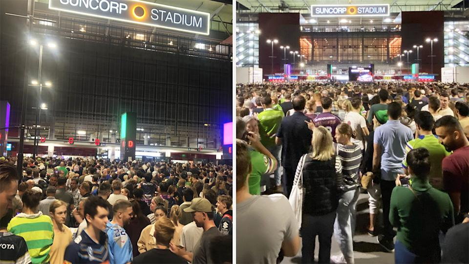 A 50-50 split image shows two shots of the large crowd outside Suncorp Stadium prior to Friday night's NRL preliminary final.