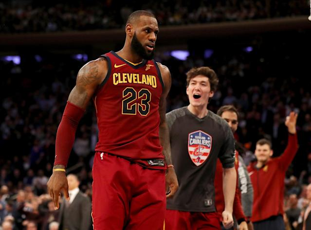 "<a class=""link rapid-noclick-resp"" href=""/nba/players/3704/"" data-ylk=""slk:LeBron James"">LeBron James</a> stares down the crowd at Madison Square Garden after dropping the dagger that slayed the Knicks on Monday. (Getty)"