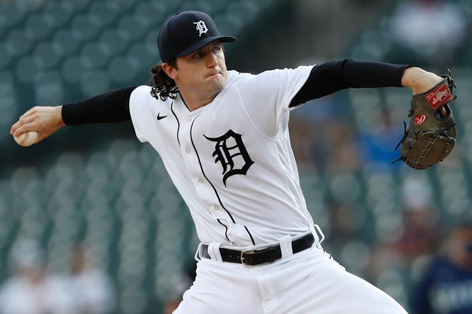 Detroit Tigers starting pitcher Casey Mize (12) throws during the first inning against the Seattle Mariners at Comerica Park.