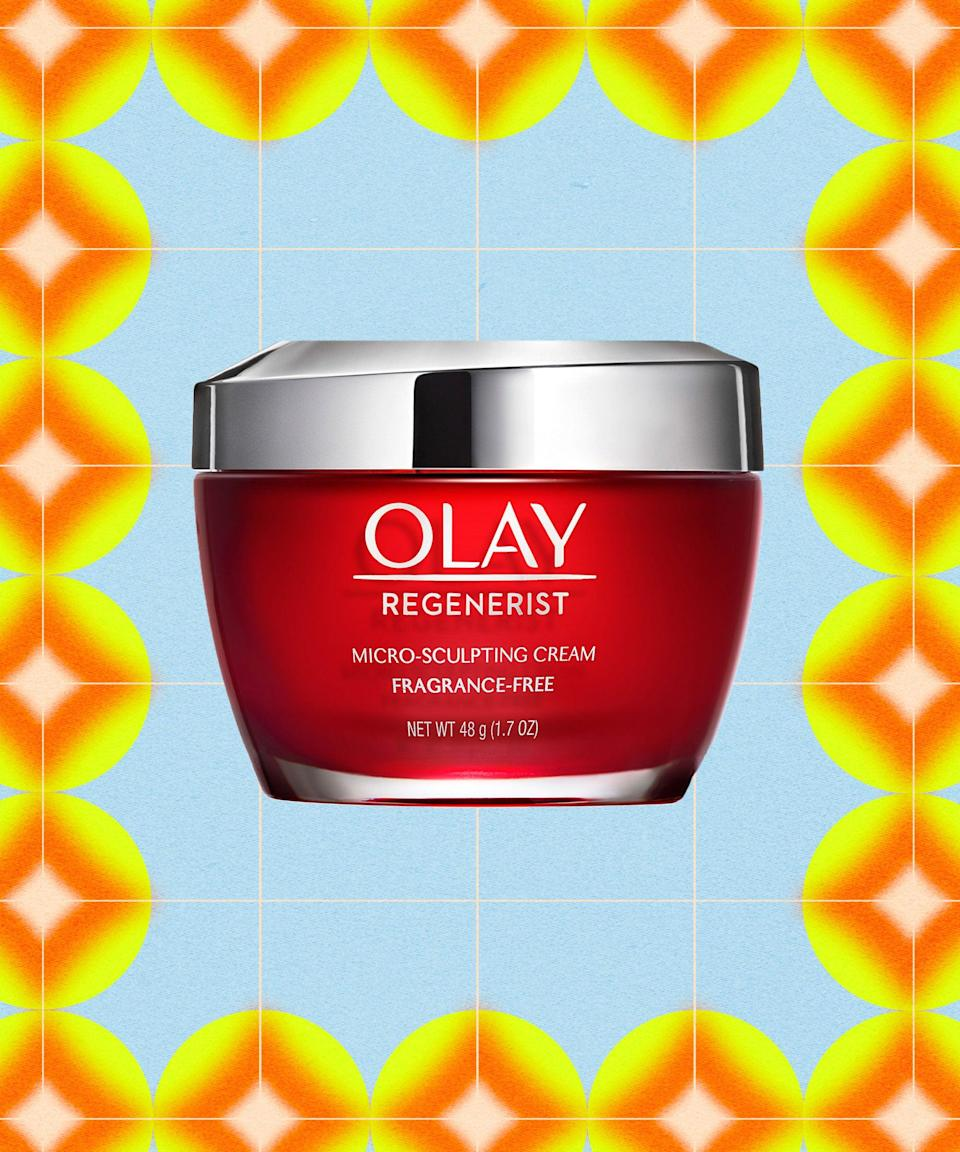 """<strong><h2>Olay Regenerist Micro Sculpting Cream</h2></strong><br><strong>Best for:</strong> Smoothing fine lines<br> <br><strong>How it works: </strong>Recognize the iconic red jar? This moisturizer is a classic for a reason. Designed to visibly diminish fine lines and wrinkles, the formula blends vitamin B3 (aka niacinamide) with hyaluronic acid, amino-peptides, and antioxidants to boost elasticity and increase cellular turnover for smoother-looking skin.<br><br><strong>Olay</strong> Regenerist Micro-Sculpting Cream, $, available at <a href=""""https://go.skimresources.com/?id=30283X879131&url=https%3A%2F%2Fwww.cvs.com%2Fshop%2Fregenerist-olay-regenerist-micro-sculpting-cream-face-moisturizer-fragrance-free-1-7-oz-prodid-1020135"""" rel=""""nofollow noopener"""" target=""""_blank"""" data-ylk=""""slk:CVS (Promo Offers Available)"""" class=""""link rapid-noclick-resp"""">CVS (Promo Offers Available)</a>"""