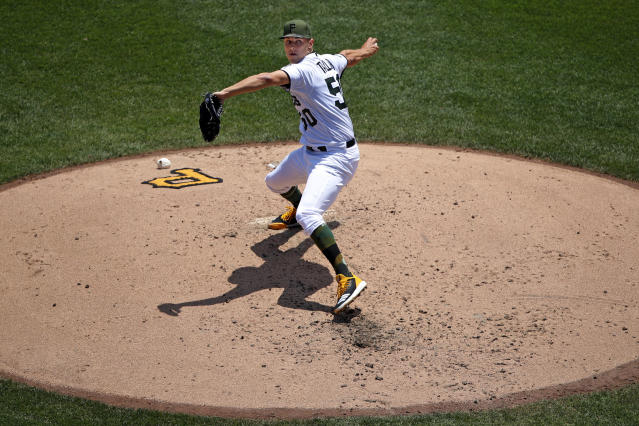 FILE - In this June 7, 2018, file photo, Pittsburgh Pirates starting pitcher Jameson Taillon delivers in the third inning of a baseball game against the Los Angeles Dodgers in Pittsburgh. The Pirates believe their young core of starting pitching, fronted by Taillon and Tevor Williams, that seemed to get better as 2018 wore on, are ready for another massive step forward in 2019. (AP Photo/Gene J. Puskar/File)