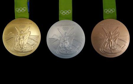 The Rio 2016 Olympic medals are pictured at the  Casa da Moeda do Brasil (Brazilian Mint) in Rio de Janeiro
