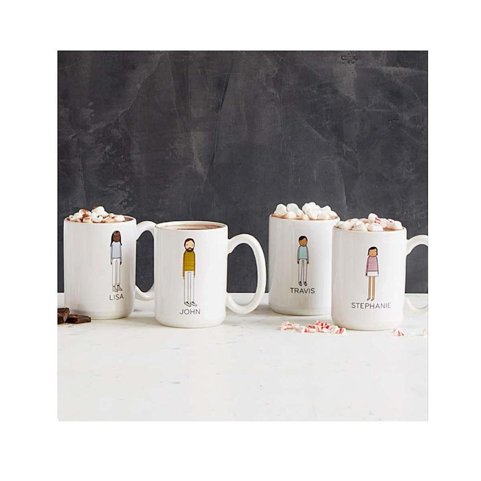 """Gift your friends these ginormous personalized coffee mugs, so neither gets confused about which one belongs to whom. $30, Uncommon Goods. <a href=""""https://www.uncommongoods.com/product/personalized-family-mugs"""" rel=""""nofollow noopener"""" target=""""_blank"""" data-ylk=""""slk:Get it now!"""" class=""""link rapid-noclick-resp"""">Get it now!</a>"""