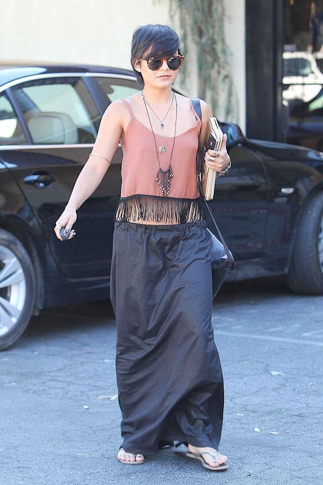 "Can we all agree that former ""High School Musical"" hottie Vanessa Hudgens shouldn't have cut her hair? In addition to a catastrophic coif, the 22-year-old donned an unfortunate, fringed top and a ton of unnecessary accessories while out and about in Los Angeles. Miguel Aguilar/Sam Sharma/<a href=""http://www.pacificcoastnews.com/"" target=""new"">PacificCoastNews.com</a> - August 31, 2011"