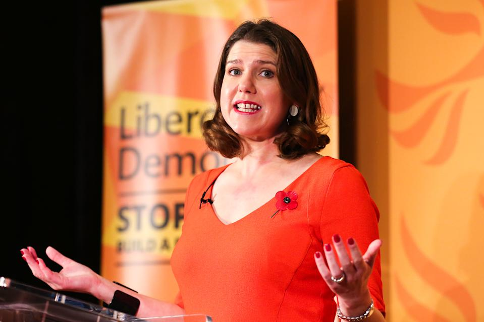 Leader of Liberal Democrat, Jo Swinson speaking to the party members and supporters during the launch of the 2019 general election campaign. The voters will go to the polls on 12 December 2019 and the new UK government will attempt to pass the Brexit agreement through Parliament before the next deadline of 31 January 2020. (Photo by Steve Taylor / SOPA Images/Sipa USA)
