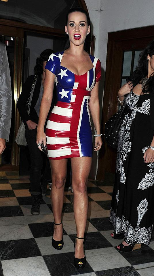 "Looks like Katy Perry caught World Cup fever! The ""California Gurls"" songstress showed her support for both the US and British soccer squads upon exiting London's Supper Club last weekend in a sexy, vinyl Stars and Stripes/Union Jack mini. <a href=""http://www.pacificcoastnews.com/"" target=""new"">PacificCoastNews.com</a> - June 12, 2010"