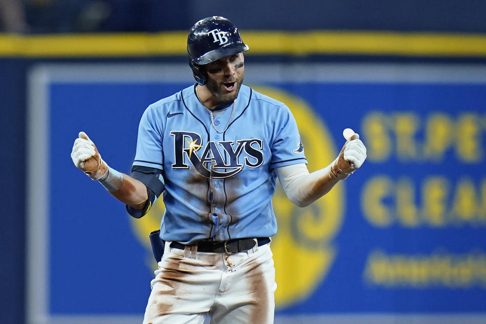Tampa Bay Rays' Kevin Kiermaier reacts after his double off Boston Red Sox relief pitcher Darwinzon Hernandez breaks up a no-hit bid during the eighth inning of a baseball game Thursday, June 24, 2021, in St. Petersburg, Fla. (AP Photo/Chris O'Meara)