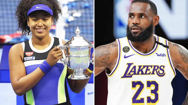 LeBron James and Naomi Osaka, pictured here in action at the NBA and US Open.